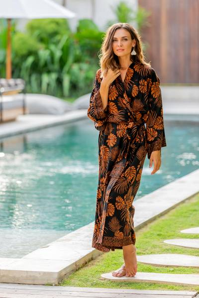 Long rayon batik robe, Tropical Leaves