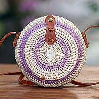 Round woven bamboo shoulder bag, 'Purple Target' - Stylish Purple and White Round Woven Shoulder Bag