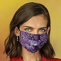 Rayon batik face masks, 'Island Allure' (set of 3) - Set of 3 Double Layer Rayon Batik Elastic Loop Face Masks