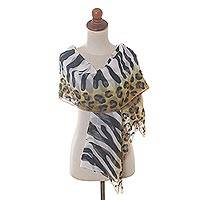 Hand painted silk shawl, 'Animal Instincts' - Zebra Stripe and Leopard Spot Silk Chiffon Shawl