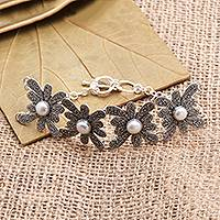 Cultured pearl link bracelet, 'Jawan Blossom' - Cultured Pearl Flower Link Bracelet from Bali