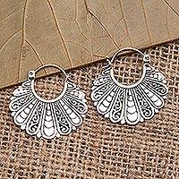 Sterling silver hoop earrings, 'Sukawati Fans' - Fan-Shaped Sterling Silver Hoop Earrings