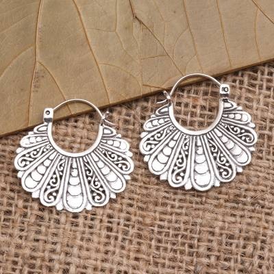 Sterling silver hoop earrings, Sukawati Fans