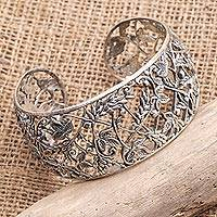 Sterling silver cuff bracelet, 'Tropical Eden' - Detailed Tropical Motif Sterling Silver Cuff Bracelet