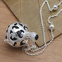 Onyx harmony ball necklace, 'Happy Chime' - Silver and Black Enamel Harmony Ball Necklace with Onyx