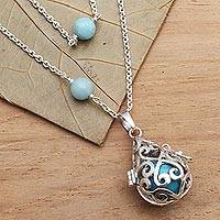 Amazonite harmony ball necklace, 'Blue Lace Angel Chime' - Silver Amazonite and Blue Enamel Harmony Ball Necklace
