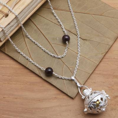 Garnet and peridot harmony ball necklace, Plumeria Chime