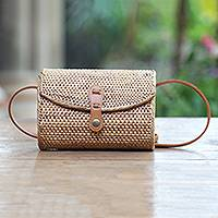 Natural fiber shoulder bag, 'Island Chic' - Handwoven Bamboo Shoulder Bag with Faux Leather Strap