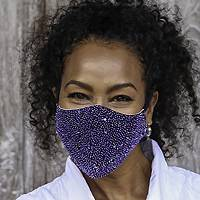Beaded cotton face masks, 'Glamour and Sparkle' (pair) - 2 Hand Beaded Cotton Contoured Face Masks in White and Blue
