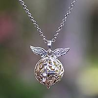 Sterling silver harmony ball necklace, 'Wings of an Angel' - Handmade Angel Wing Sterling Silver Harmony Ball Necklace