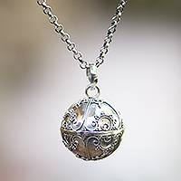 Sterling silver harmony ball necklace, 'Caring Love' - Sterling Silver Amulet Harmony Ball Necklace