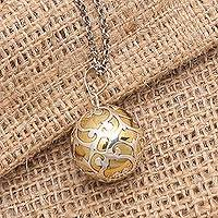 Sterling silver harmony ball necklace, 'Becoming' - Bali Harmony Ball Necklace Handcrafted of Sterling Silver