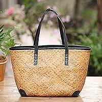 Leather accent rattan shoulder bag, 'Classic Contrast' - Handwoven Brown Rattan Handbag with Black Leather