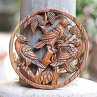 Wood relief panel, 'Bird Habitat' - Hand-Carved Suar Wood Wall Panel Bird Motif