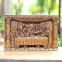 Wood relief panel, 'The Last Supper' - Last Supper Carved Acacia Wood Relief Panel