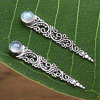 Rainbow moonstone ear climbers, 'Bali Comet' - Rainbow Moonstone Ear Climber Style Earrings