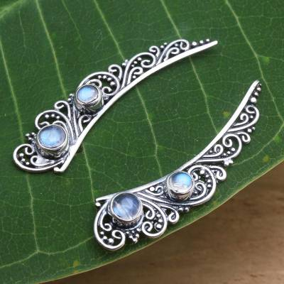Rainbow moonstone ear climbers, 'Little Wings' - Rainbow Moonstone Ear Climber Style Earrings