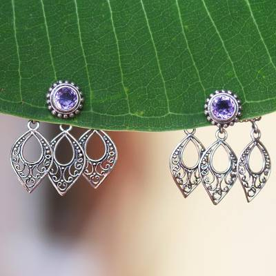 Amethyst ear jacket earrings, Leaves of Lace