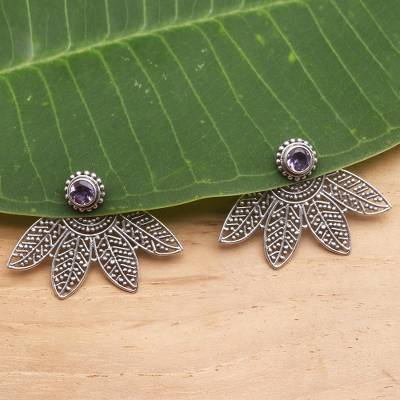Amethyst ear jacket earrings, 'Jungle Lace' - Artisan Crafted Amethyst Ear Jacket Style Earrings