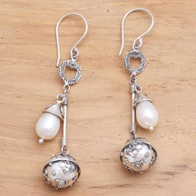 Cultured pearl harmony ball dangle earrings, Angel Chimes