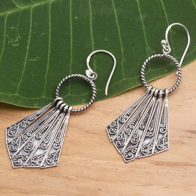 Sterling silver dangle earrings, 'Pennants' - Hand Crafted Sterling Silver Dangle Earrings