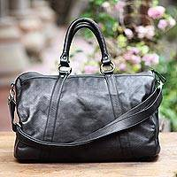 Leather travel bag, 'Minggat in Black' - Black Leather Travel Bag with Zipper from Indonesia