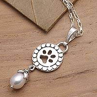 Cultured pearl pendant necklace, 'Pawprint Memories' - Freshwater Pearl Sterling Silver Pawprint Pendant Necklace