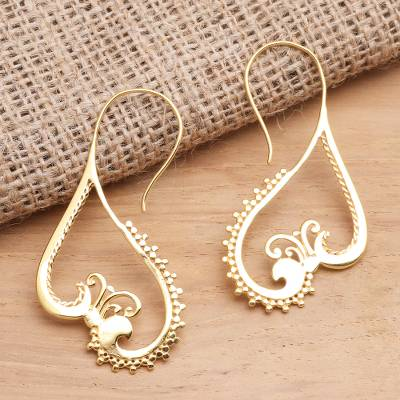 Gold plated drop earrings, 'Keramas Waves' - Curvy Gold Plated Brass Drop Earrings