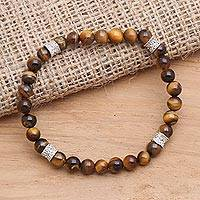 Tiger's eye and sterling silver beaded stretch bracelet, 'Close Quarters in Brown' - Stretch Tiger's Eye Bracelet with Sterling Silver Accents