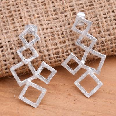 Sterling silver drop earrings, 'Stacked Squares' - Geometric Sterling Silver Drop Earrings