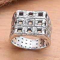 Men's sterling silver ring, 'Ancient Windows' - Textured Square Motif Men's Sterling Silver Ring