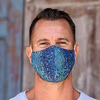 Rayon batik face masks, 'Balinese Ocean' (extra wide, pair) - 1 Green / 1 Blue Extra Wide 2 Layer Rayon Batik Face Masks