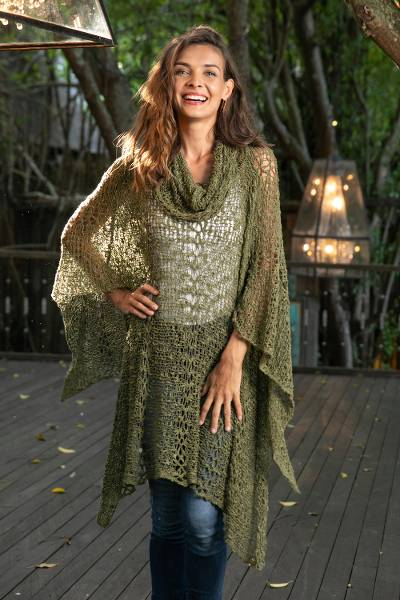 Knit poncho, 'Green Shade' - Lightweight Hand Knit Poncho in Olive from Bali