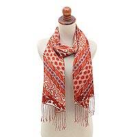 Silk batik shawl, 'Lengko Scarlet' - Hand Crafted Red Batik Silk Shawl and Gift Box