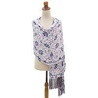 Silk batik shawl, 'Teratai Purple' - Fringed Silk Batik Shawl in Purple and White