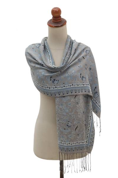 Silk batik scarf, 'Badung Blooms' - 100% Silk Batik Scarf in Grey and Blue Floral