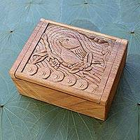 Decorative wood box, 'Perching Bird' - Hand Carved Decorative Wood Box with Bird Relief