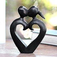 Wood sculpture, 'Engaged in a Kiss' - Romantic Wood Sculpture of Couple Kissing
