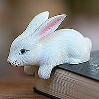 Wood statuette, 'Curious Rabbit in White' - Hand Carved White Bunny Sculpture from Bali