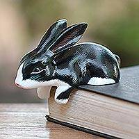 Wood statuette, 'Curious in Black and White' - Black and White Curious Bunny Statuette