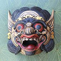 Wood mask, 'Bali Barong Bold' - Handmade Wood Mask from Bali in Good vs. Evil Theme