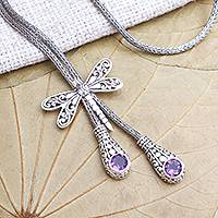 Amethyst lariat necklace, 'Dragonfly Flight' - Amethyst Lariat Necklace with Dragonfly Motif