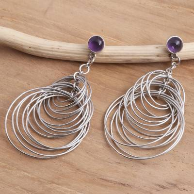 Amethyst dangle earrings, 'Maze of Circles' - Amethyst and Sterling Silver Dangle Earrings