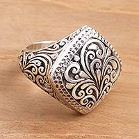 Sterling silver signet ring, 'Java Square' - Hand Crafted Indonesian Style Sterling Silver Ring