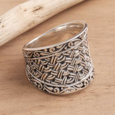 Sterling silver band ring, 'Java Weave' - Wide Sterling Silver Woven-Look Band Ring