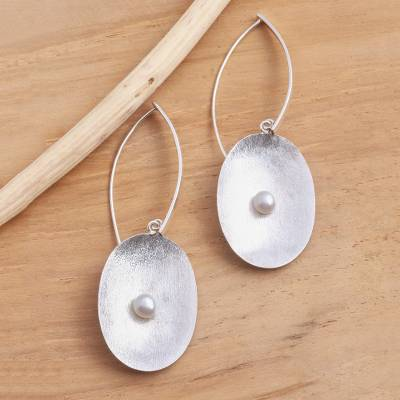 Sterling silver and cultured pearl dangle earrings, 'Seeds of Change' - Brushed Sterling Silver and Cultured Pearl Dangle Earrings