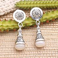 Cultured pearl dangle earrings, 'Bali Bagatelle' - Artisan Designed Cultured Pearl Earrings