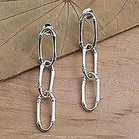 Sterling silver dangle earrings, 'Bamboo Chain' - Bamboo Look Sterling Silver Dangle Earrings