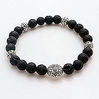 Sterling silver lava stone unity bracelet, 'Unity Triangle' - Balinese Black Lava Stone Unity Bracelet with Silver 925
