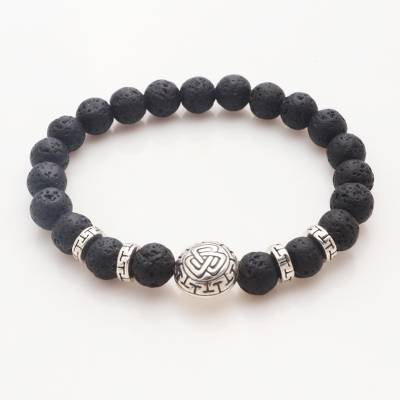 Sterling silver lava stone unity bracelet, 'Three Together' - Balinese Unity Bracelet of Black Lava Stone with Silver 925